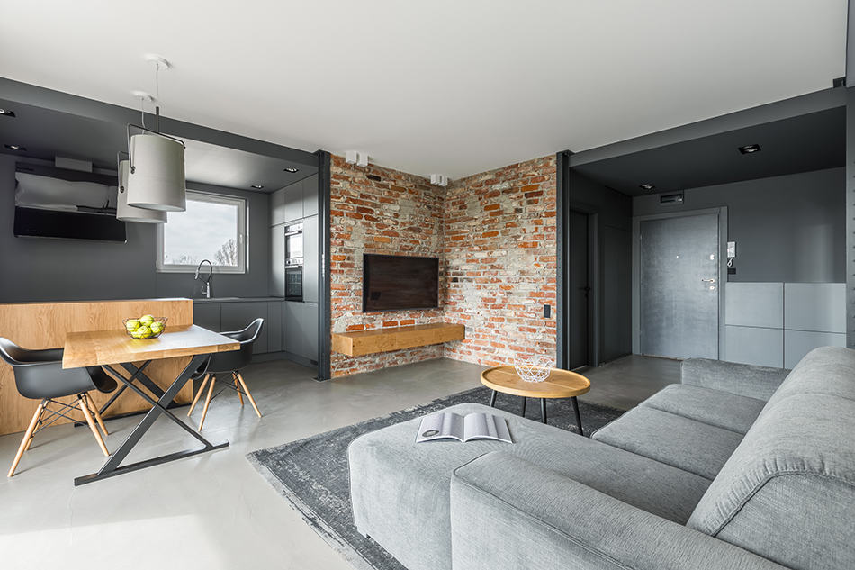 Concrete Walls in Industrial-style Living Room
