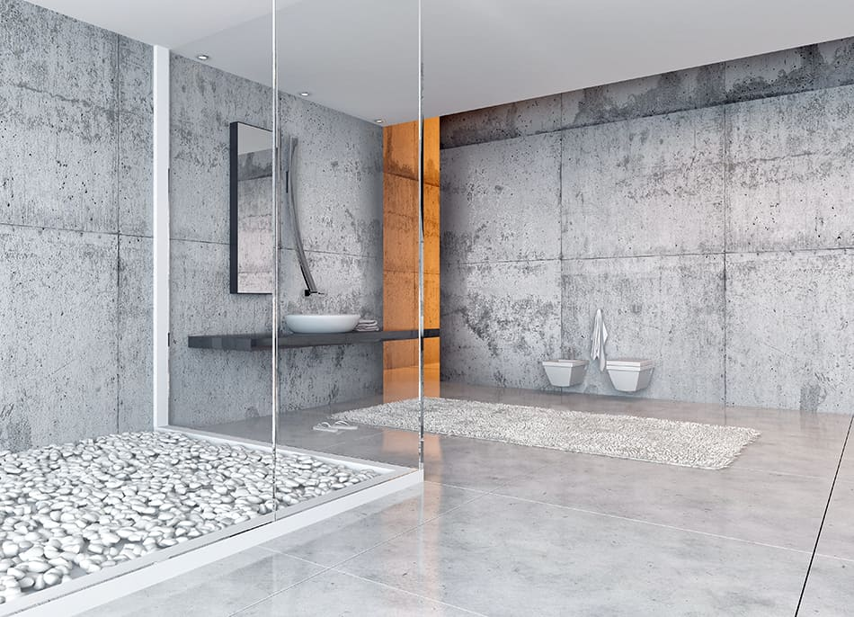 Concrete and Marble for Bathroom