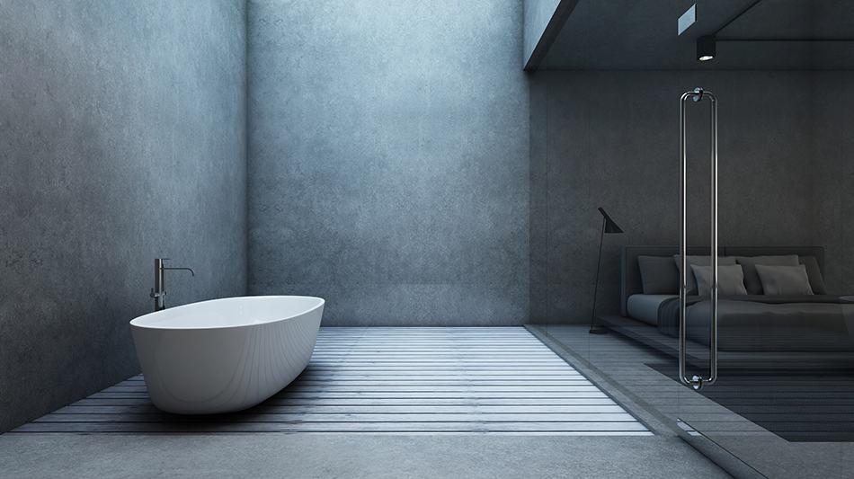 Luminescent Concrete Walls in Minimalist Bathroom