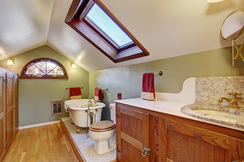 Vaulted Ceiling in a Vintage Bathroom