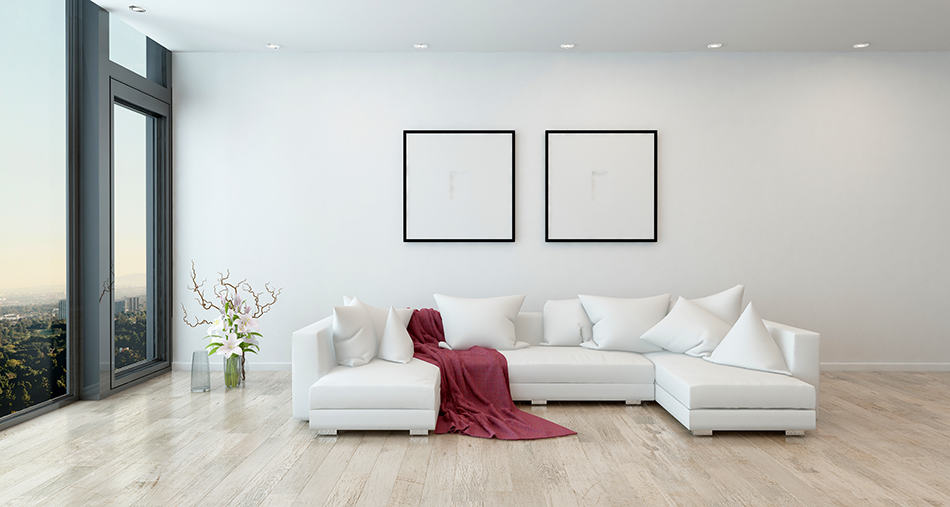 White Sectional Sofa in a Large Living Room