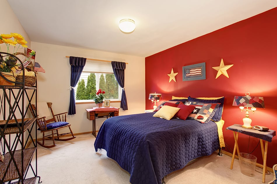 Blue Red and Yellow Bedroom