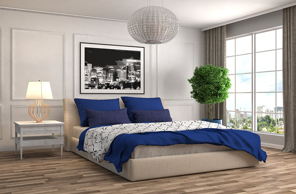 Blue and Grey Bedroom