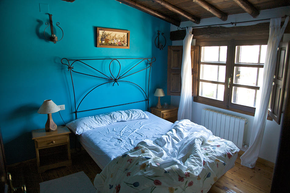 Blue in a Rustic-Style Bedroom