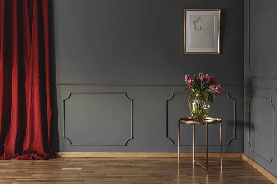 Bright Red Curtain on Dark Grey Wall