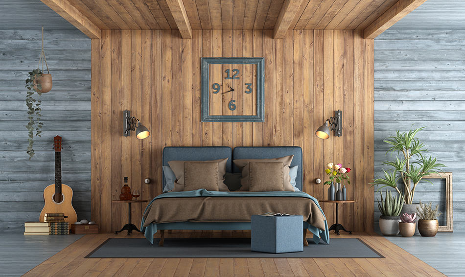 Brown and Blue Bedroom