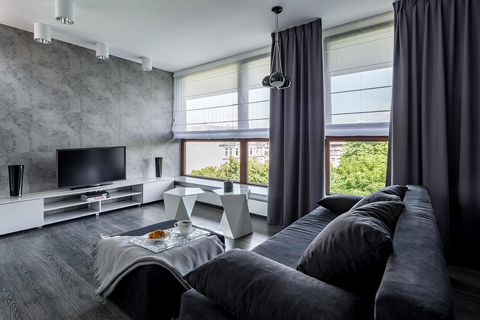 Charcoal Grey Curtains on Medium Grey Wall