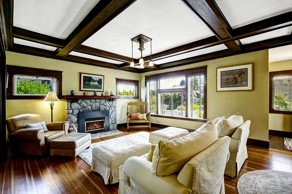 Coffered Ceiling in a Traditional Living Room
