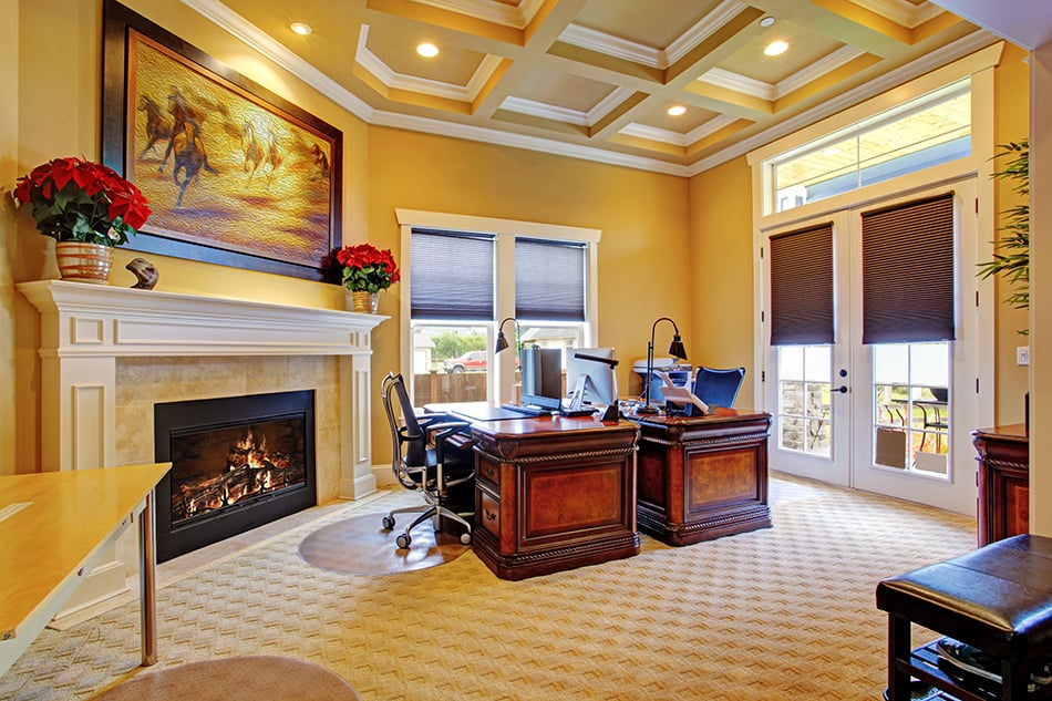 Coffered Ceiling in the Home Office