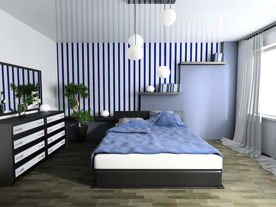 Statement Lighting in a Blue Bedroom