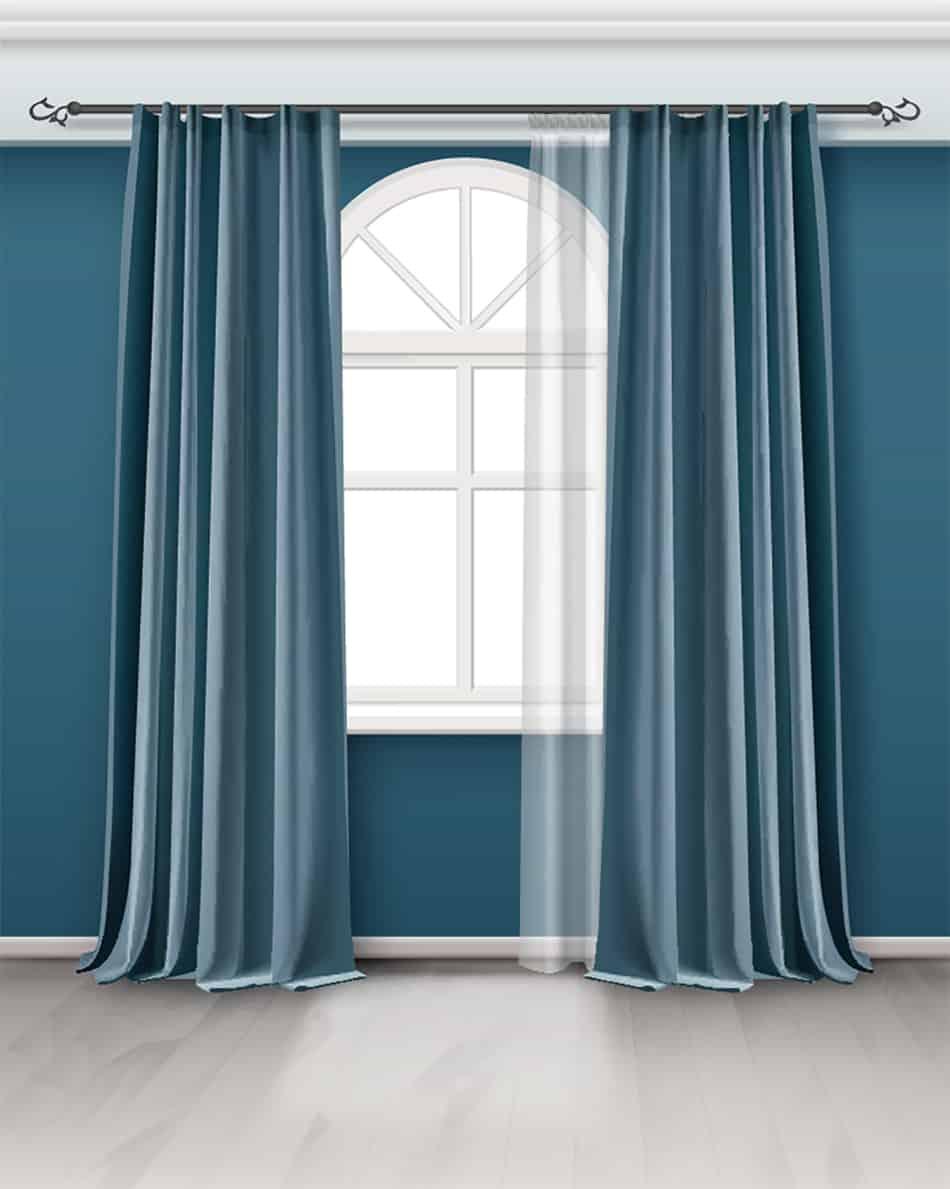 Teal Curtain on Teal Wall