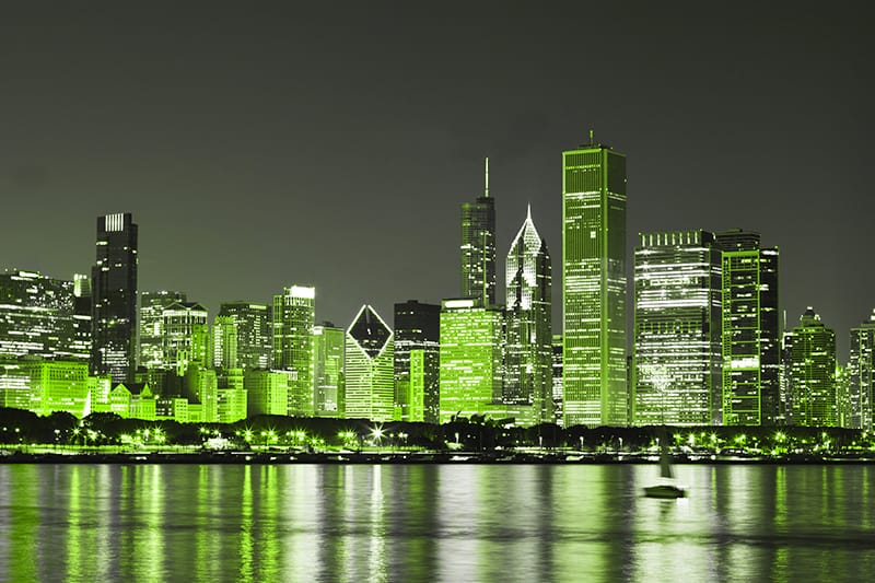 Green color light on St Patrick's Day