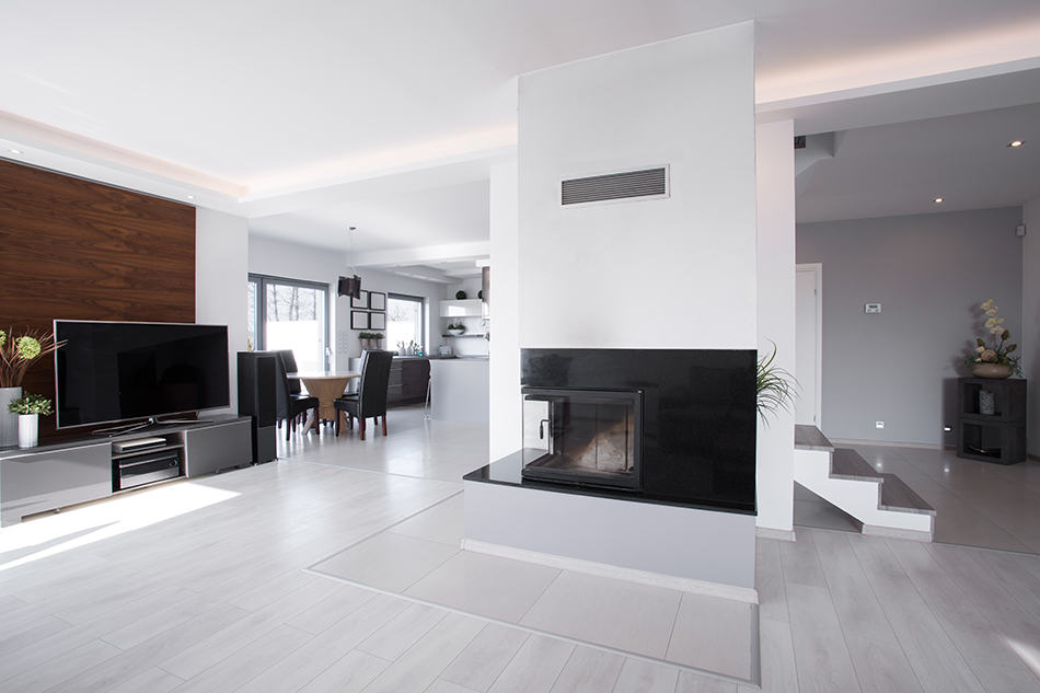 Fireplace in the Middle of the Living Room