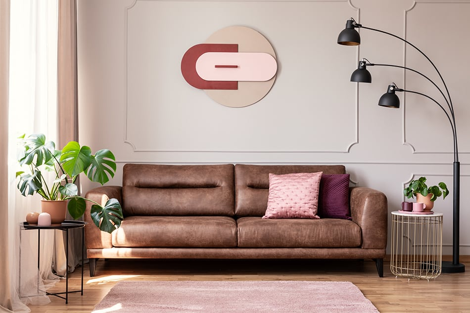 Brown couch and rug