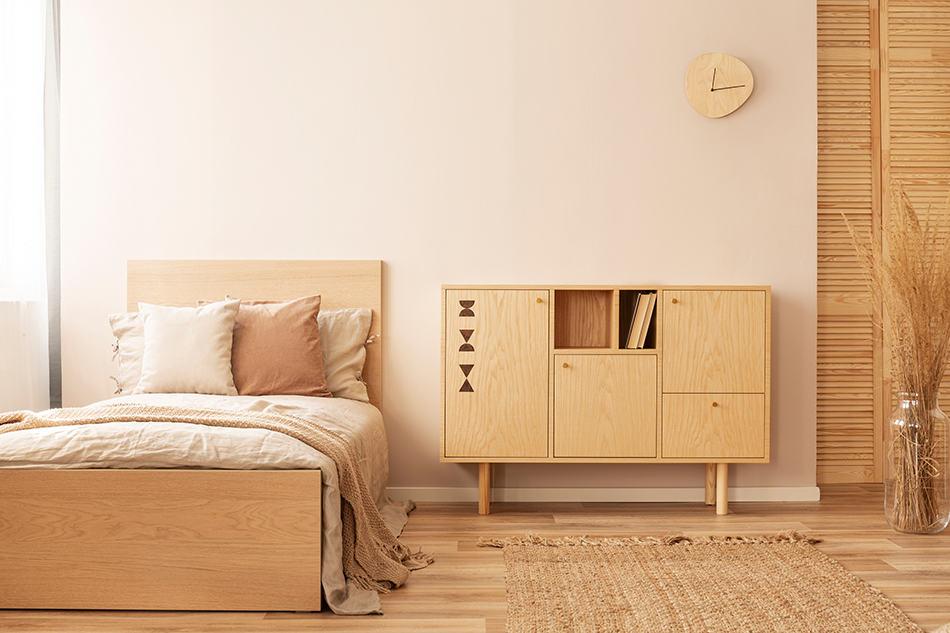 A Monochromatic Beige Bedroom