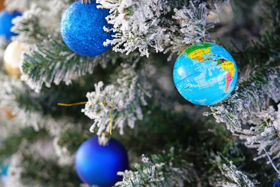 Ornamental globe lights for Christmas tree