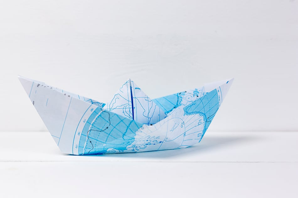 Paper boat origami party map