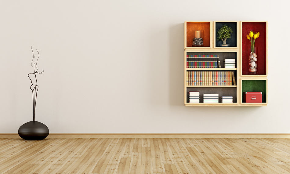 Decorate an empty wall with bookshelves