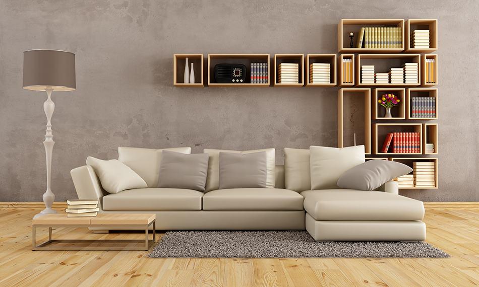 Take advantage of the wall behind the sofa