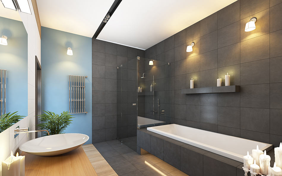 Charcoal Gray Tiles With Soft Blue