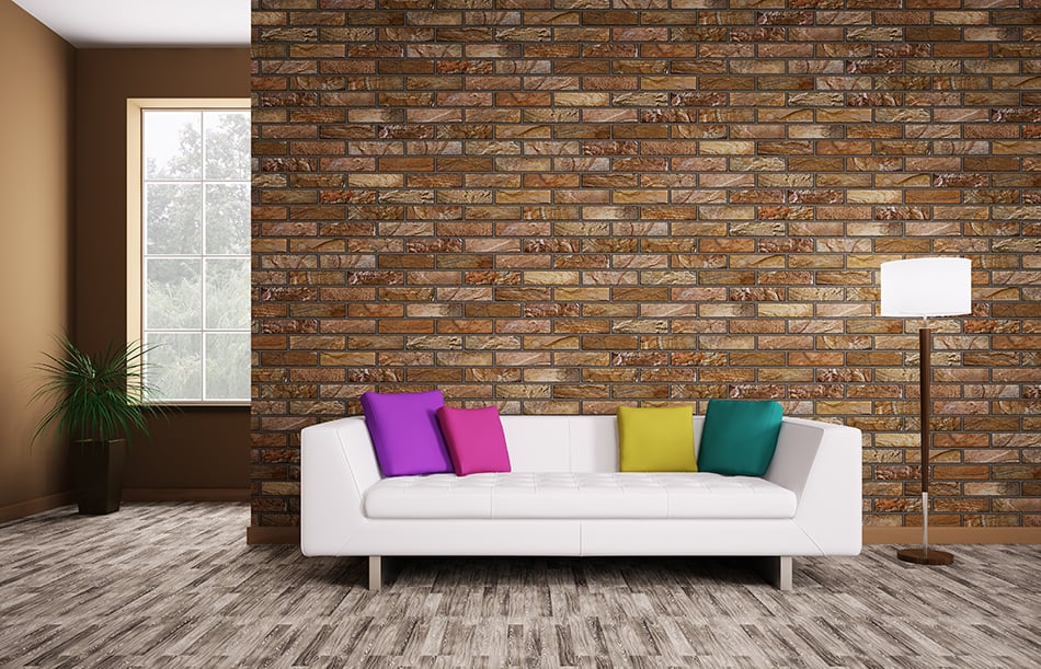 Combine Brown Brick Wall With Accent Colors
