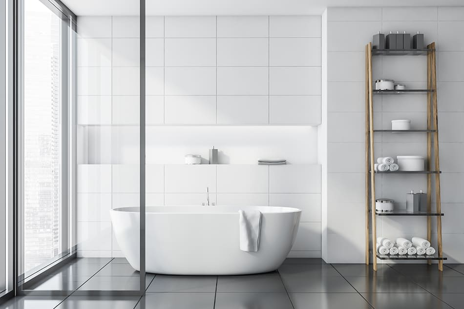 Dark Gray Tiles With Off-White Walls