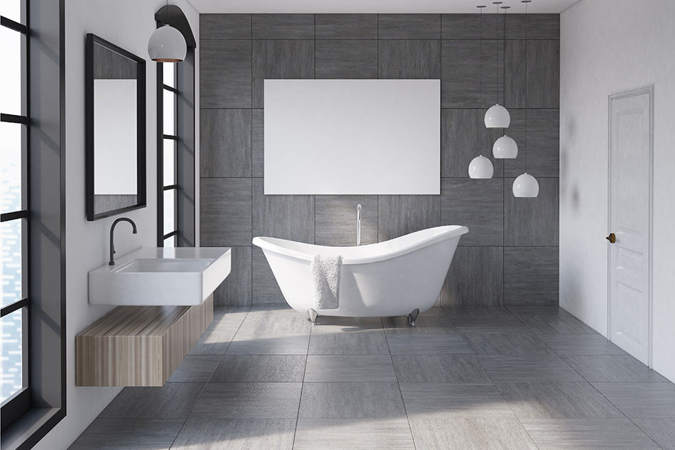 Gray Tiles With Pale Gray Walls