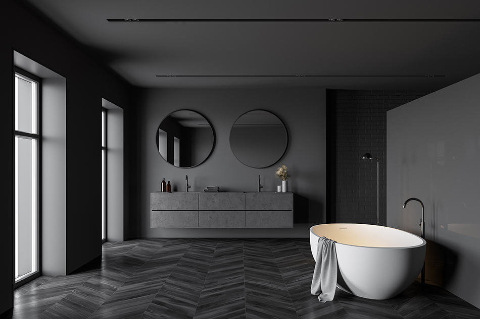 Gray With Black Walls