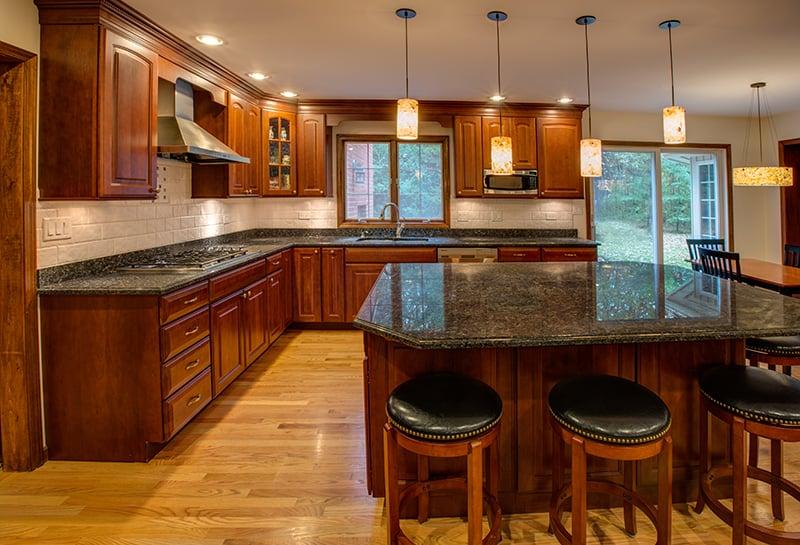 Red Oak Wood Kitchen Cabinets