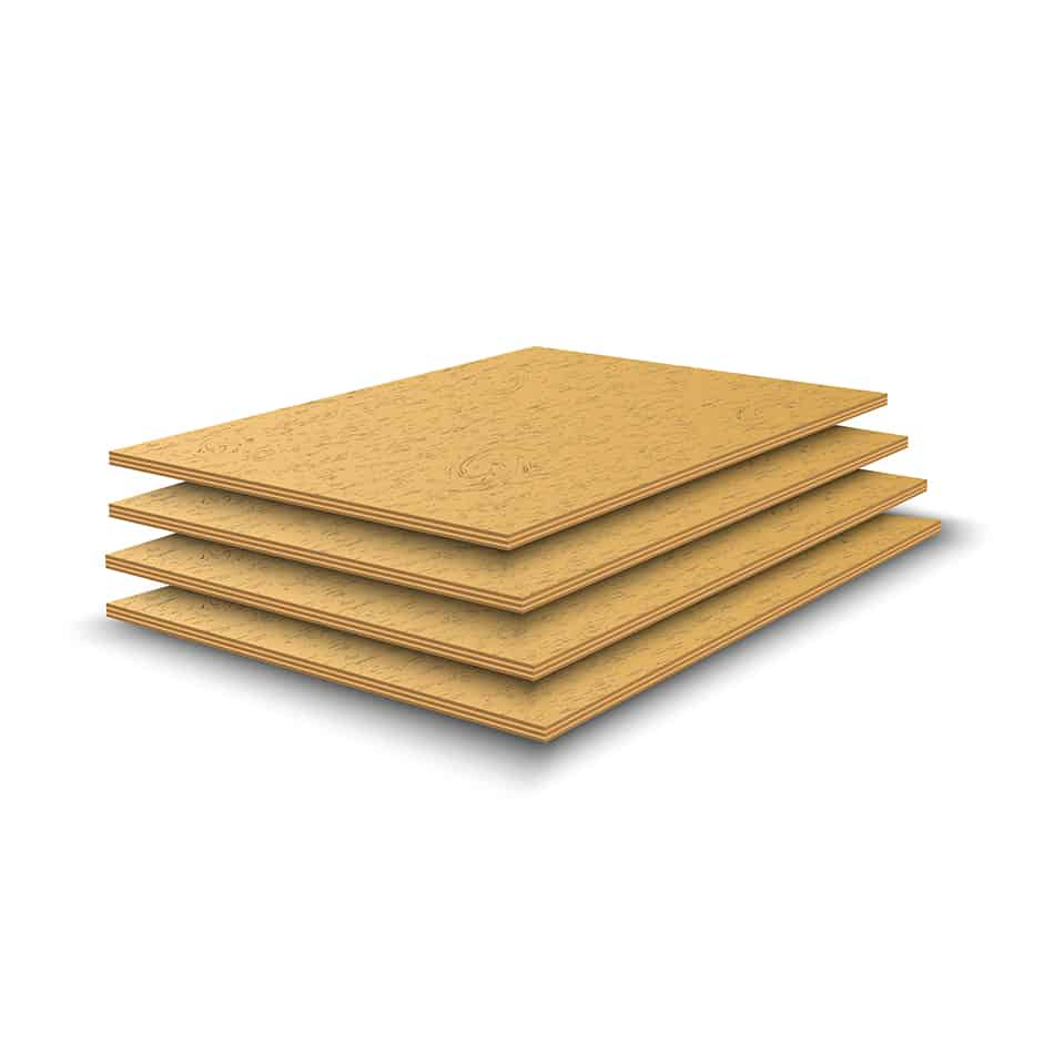 Plywood is made of thin sheets of softwood glued together in layers