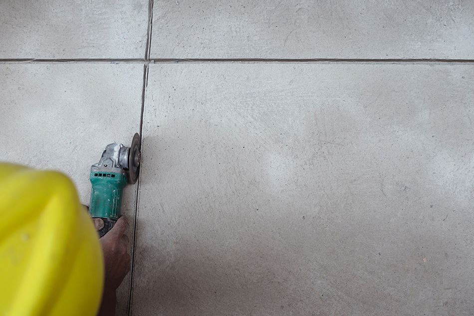 Removing Thinset from Concrete Using an Angle Grinder