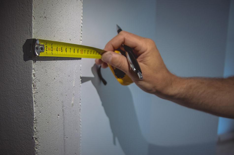 Largura padrão da parede interna