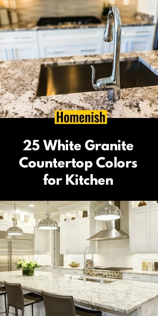 25 White Granite Countertop Colors for Kitchen